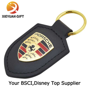 Factory Supply Black Custom Leather Keychain for Car