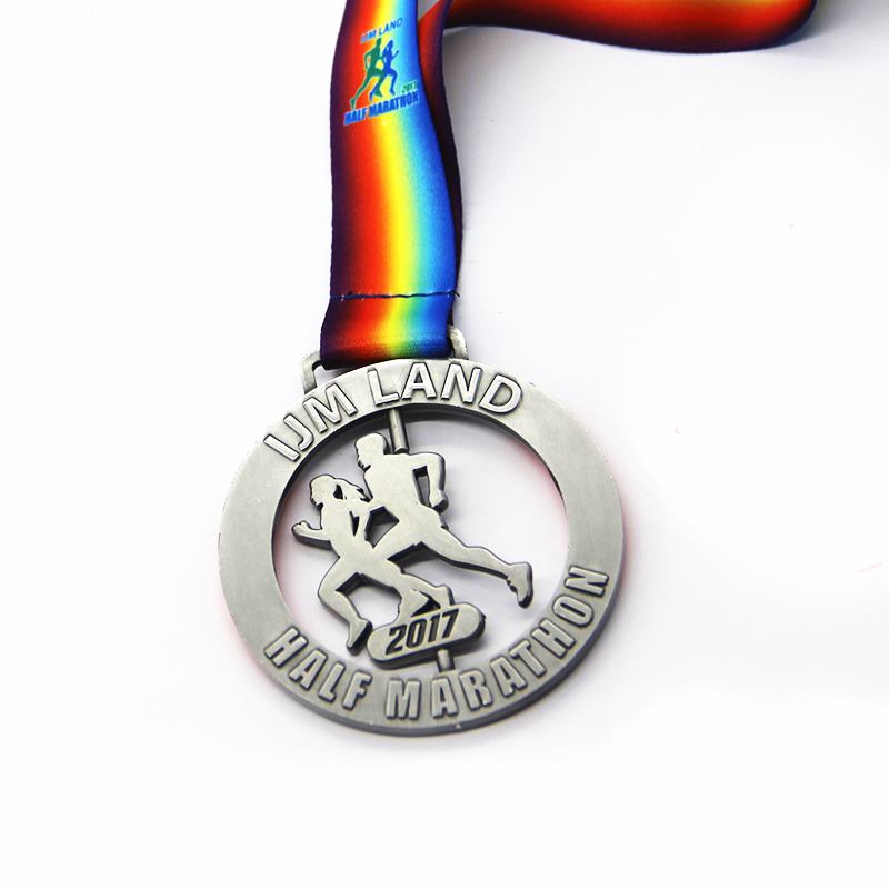 High quality Metal antique silver 3D Marathon sports medal