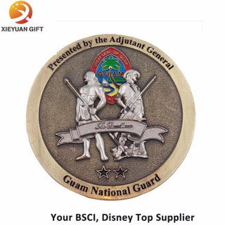 Custom Round Antique Plated Challenge Coin for Souvenir Two People