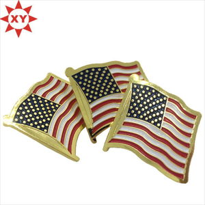 Custom America Enamel Metal Shiny Gold Pin Badge