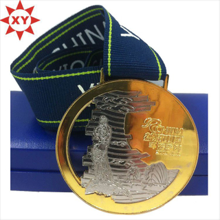 Custom Cut out Gold Medal with Medal Ribbon for Sport