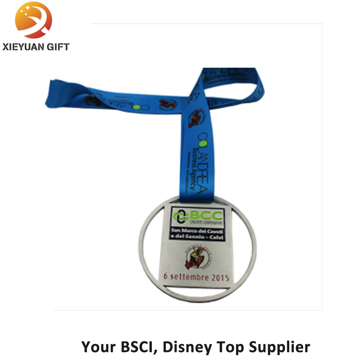 Factory Price Soft Enamel Medal with Blue Ribbon