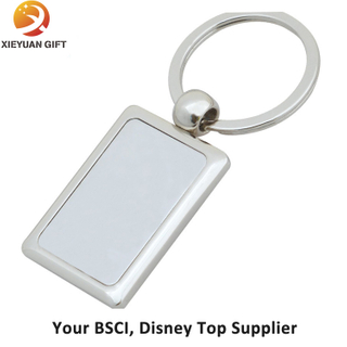 Blank Rectangle Metal Keychain with Ring