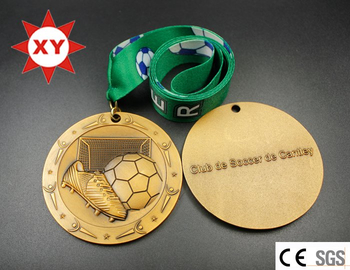 3D Football Gold Medal with Logo Ribbon