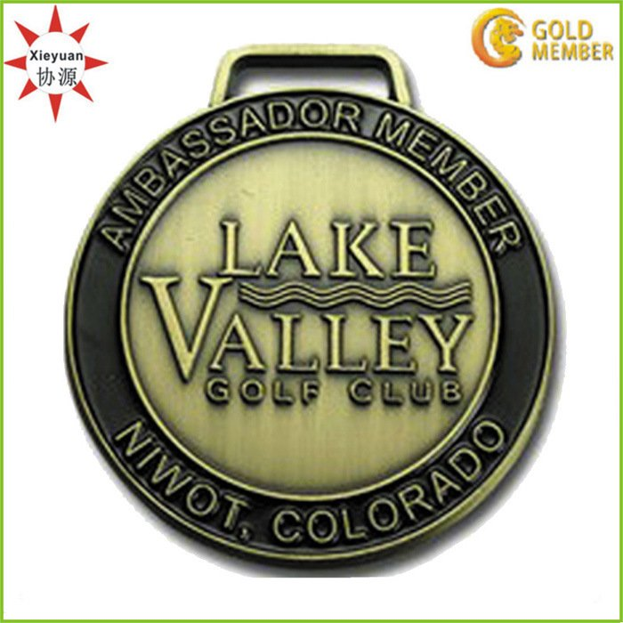 Golf Club Logo Medal with Antique Brass Wholesale in China
