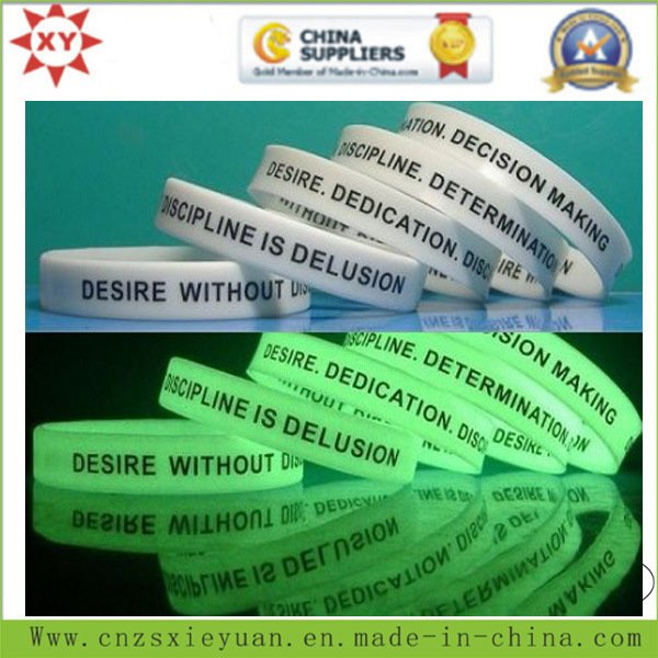 Silicone Wristband Embossed and Glow in The Dark (ADULT SIZE)