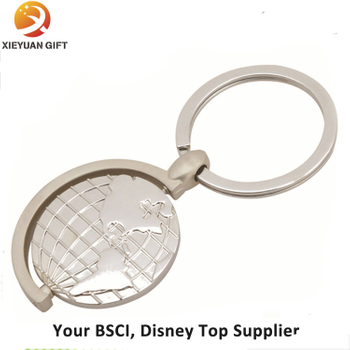 Promotional Satin Nickel Plating Metal Spinning Tellurion Keychain