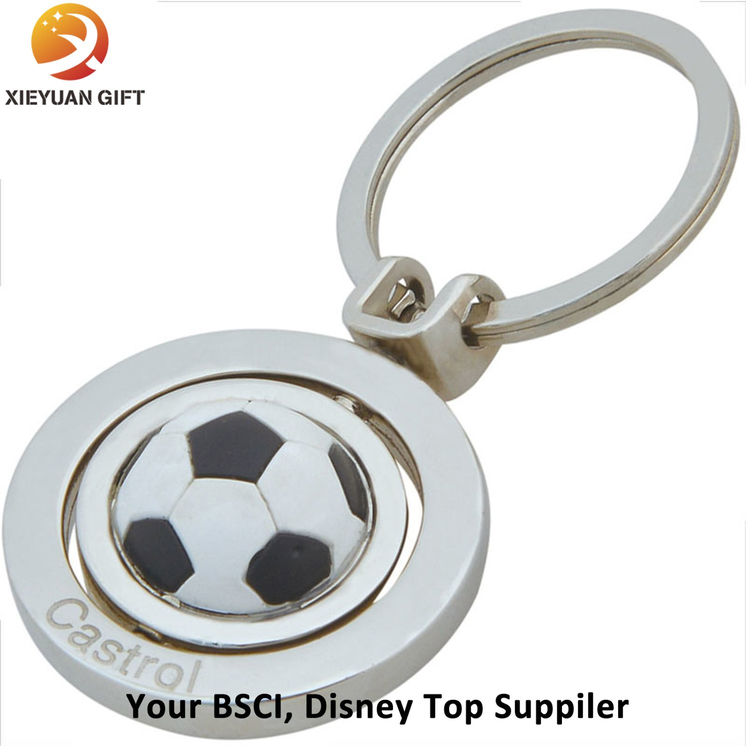 2015 Nickel Plating Custom Football Rotate Keychain