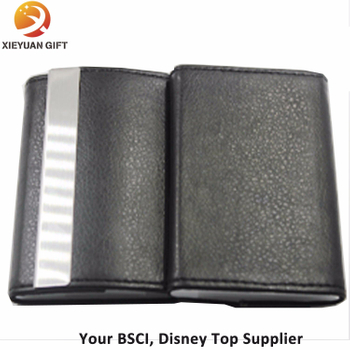 Fashion Black Color PU Leather and Stainless Steel Business Holder