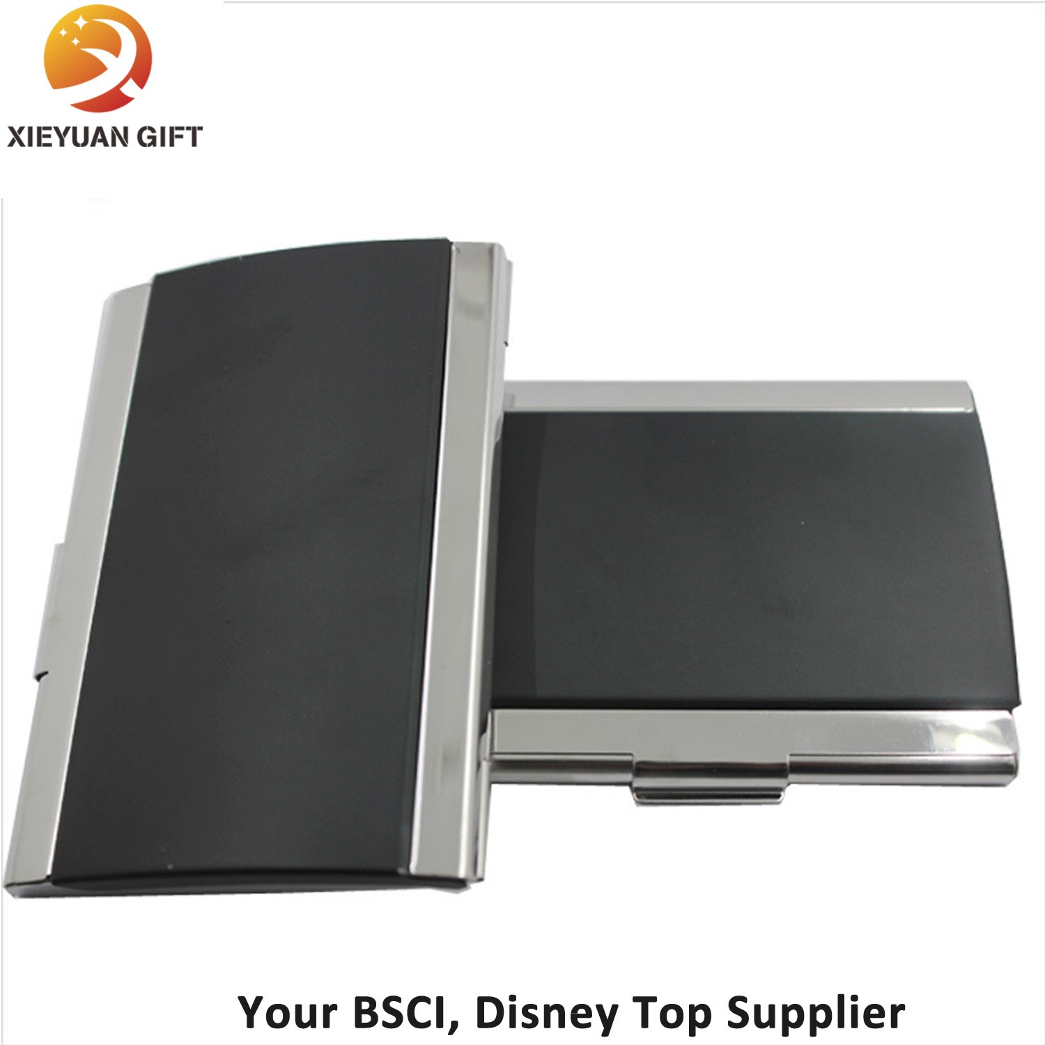 PU Leather Business Journal Name Card Book Holder Black Color