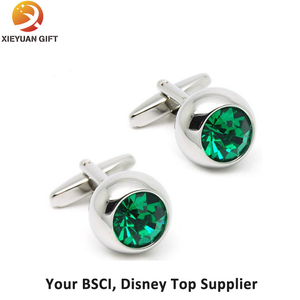 Green Crystal Silver Rounded Square Cufflinks for Sale