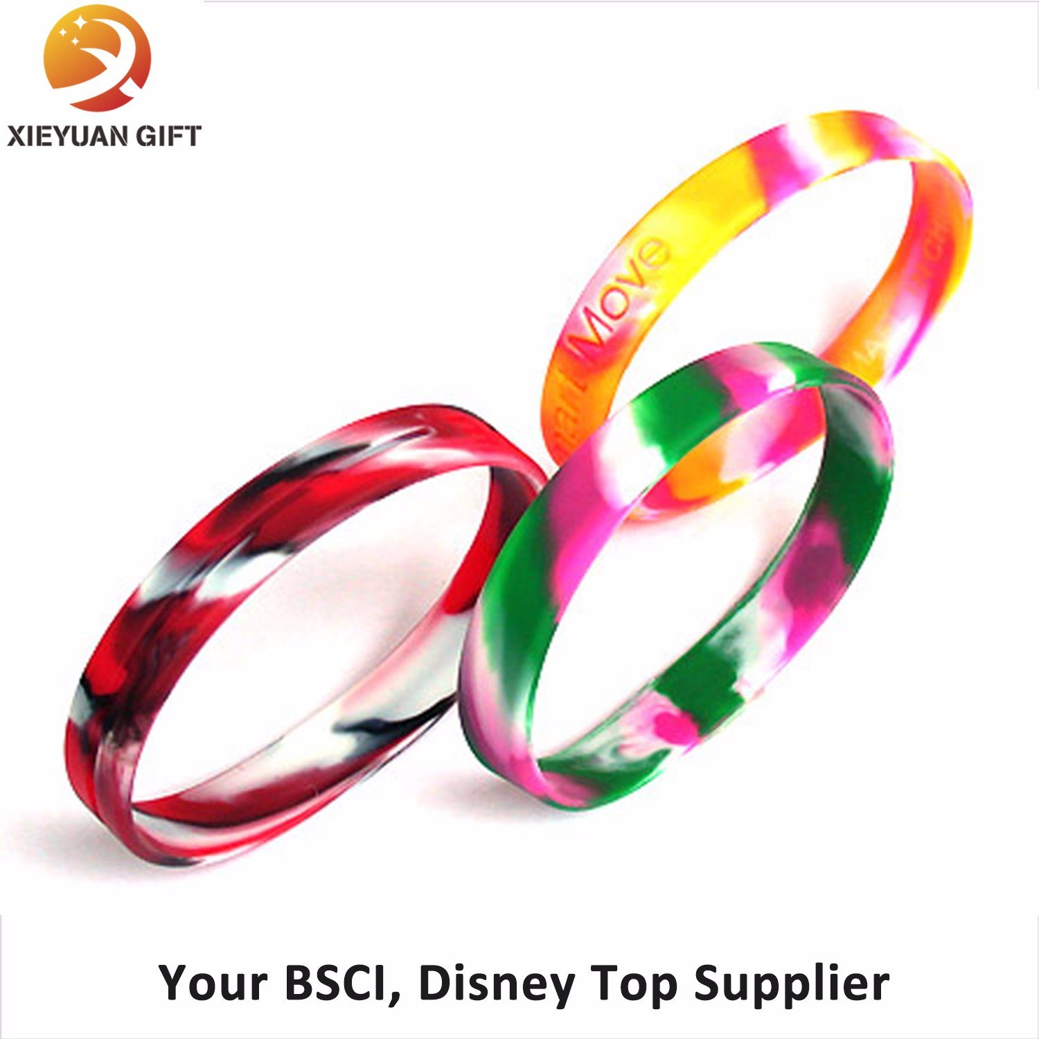 Eco-Friendly Silicone Bracelet Emboss and Color Filled (XY-MXL72903)