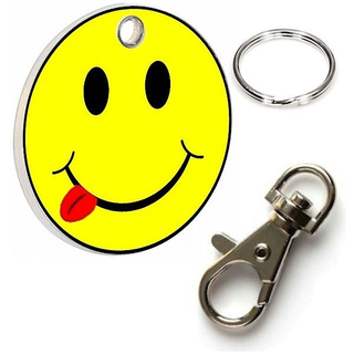 Promotion Europe Standard Metal Smily Face Trolley Coin Keychain