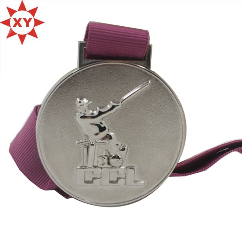 High Quality Silver Sports Promotion Medal with Red Ribbon