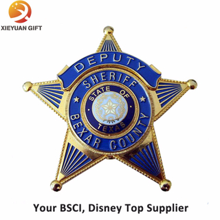 Zinc Alloy Metal Badges with Star Shape