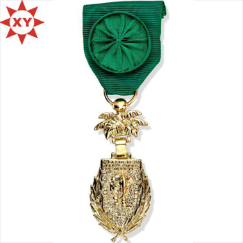 Hot Sell Medals Plated Gold with Fashion Handmade Green Ribbon