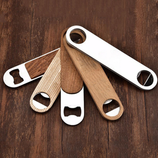 Customize A bottle opener with a wood top and a metal top