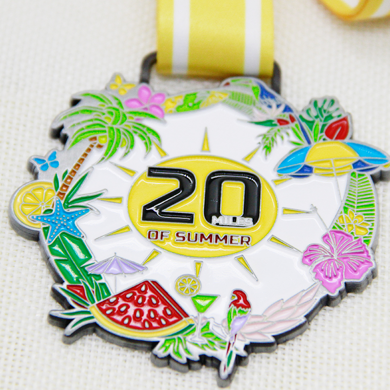 China factory custom flower watermelon coconut tree pattern marathon 20 km color irregular electroplating die casting zinc alloy medal