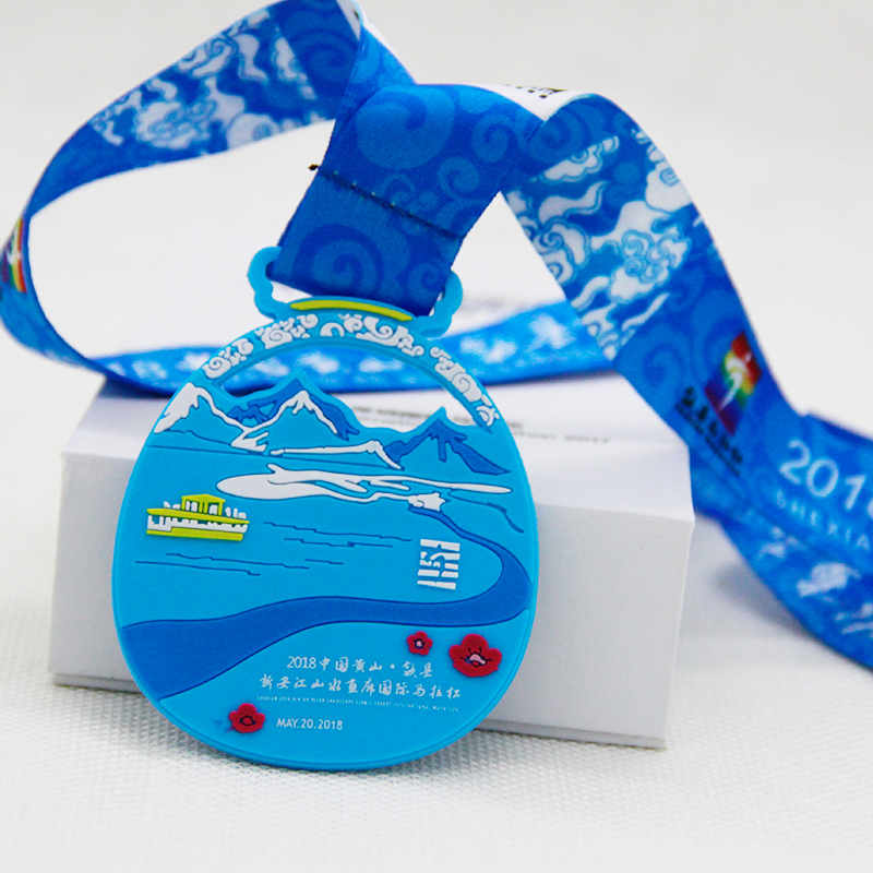 Blue snow and ice mountain ribbon medal white river red flower hollow landscape international marathon PVC medal