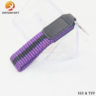 China factory custom high quality purple black ribbon leather key chain